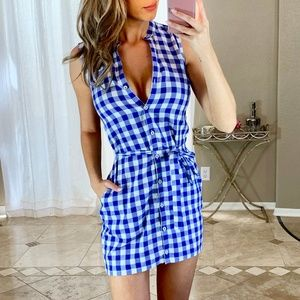 Tommy Bahama Blue White Plaid Button Shirt Dress
